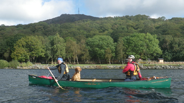 Clair, Lacey and Sarah on Llyn Padarn, Llanberis, 2012
