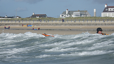Barry surfing in Trearddur Bay, Anglesey, 2012